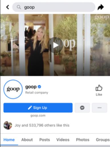 Página de Facebook da empresa Goop