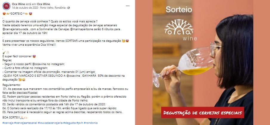 Página de Facebook da empresa Oca Wine