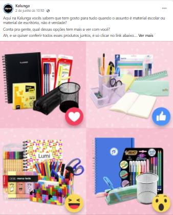 Página de Facebook da empresa Kalunga