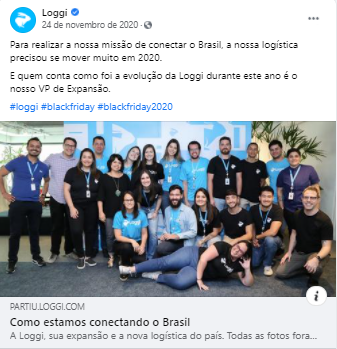 Página de Facebook da empresa Loggi