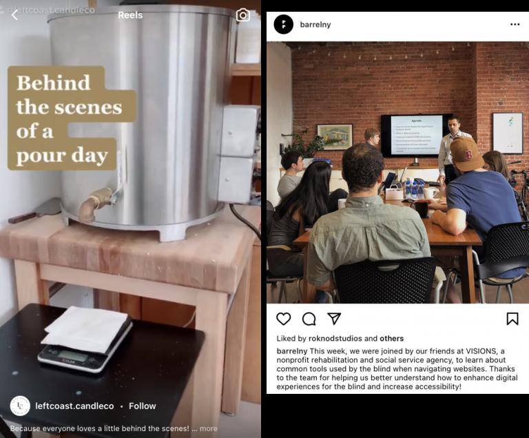 Exemplo de posts mostrando bastidores de empresas no Instagram