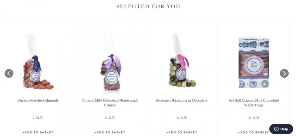 Exemplo produtos em destaque com setas laterais
