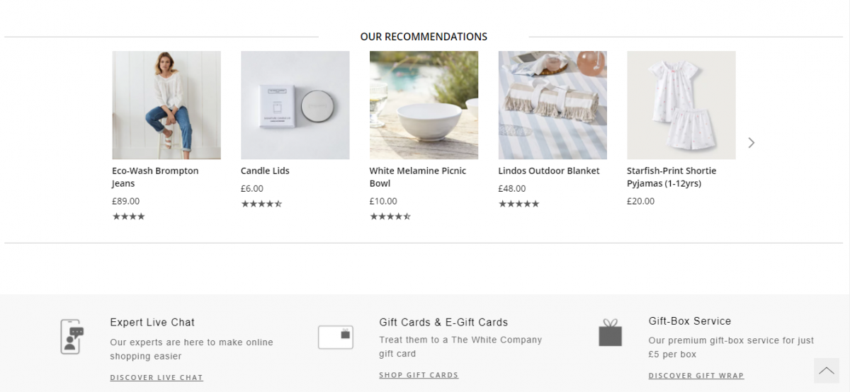 Exemplo produtos em destaque na metade da página