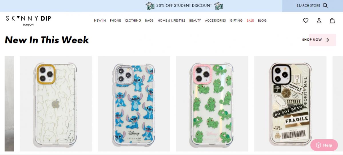 Exemplo produtos em destaque em loja virtual