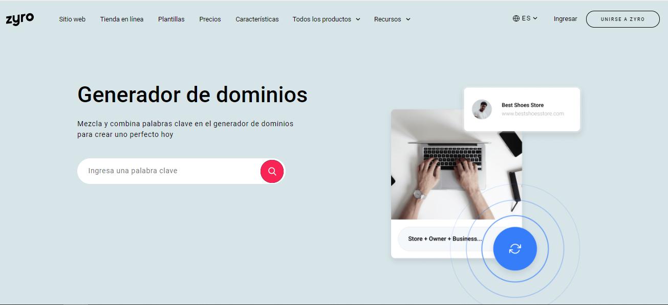 cómo conseguir un dominio gratis con Zyro y el generador de nombres