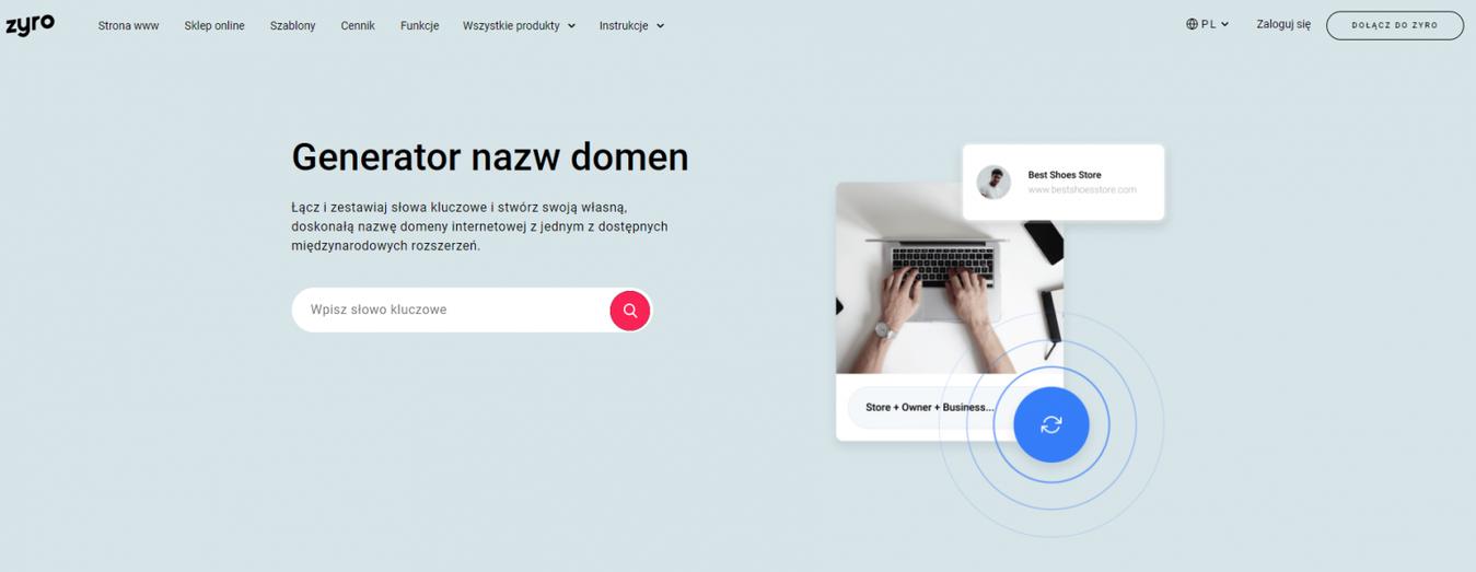 Strona Zyro - generator nazw domen