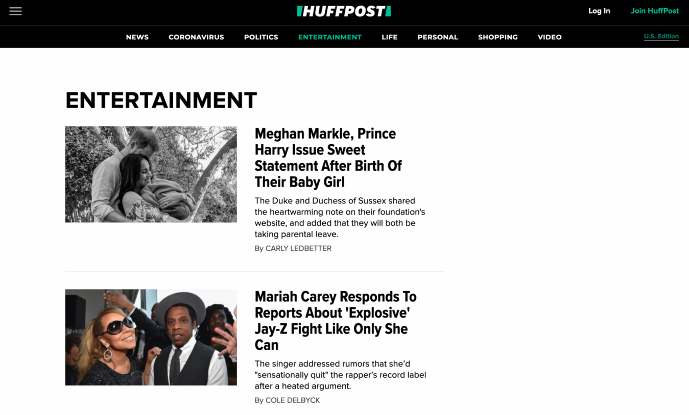 Huffington Post Zielseite