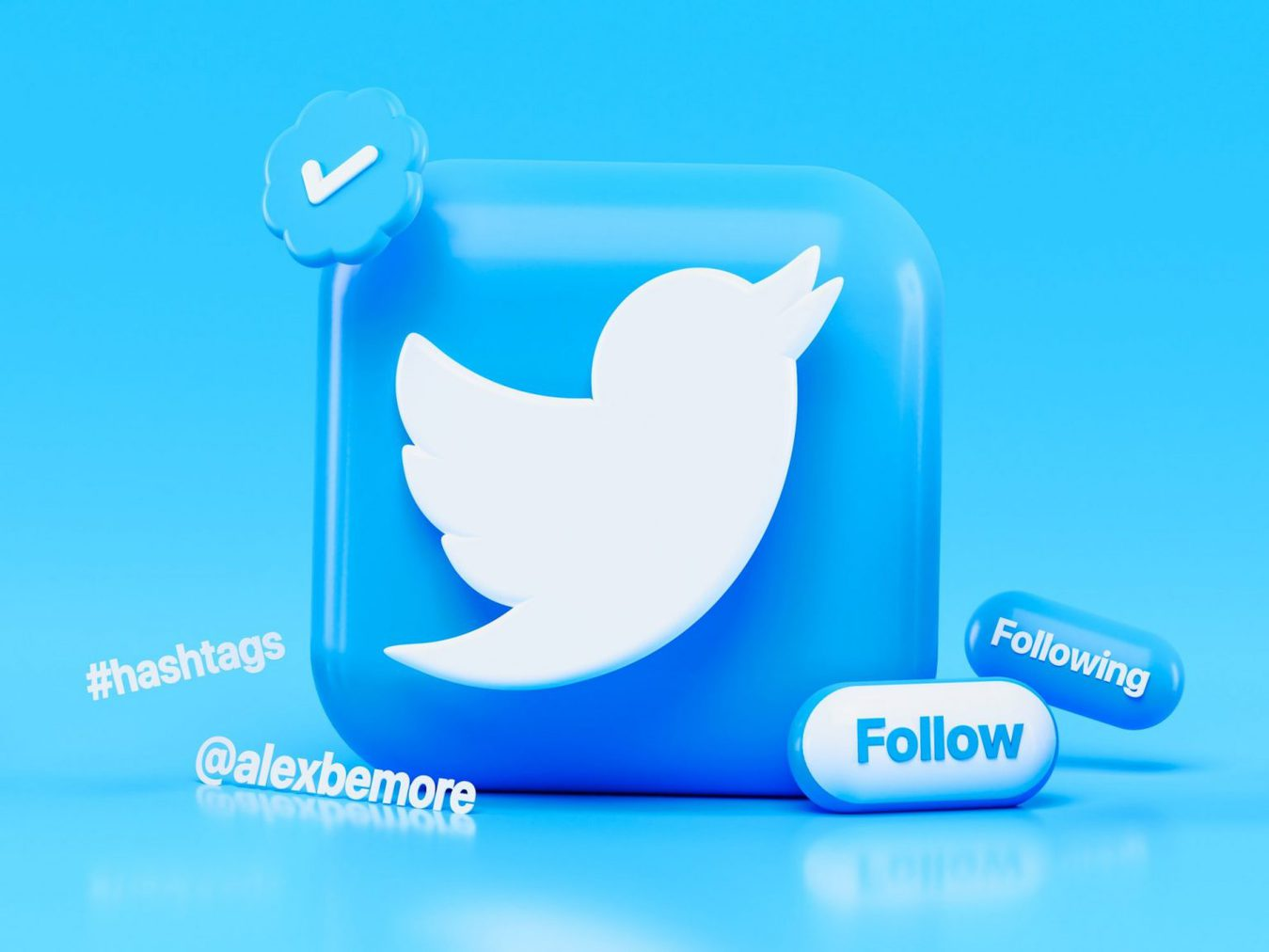 Icona Twitter in 3D