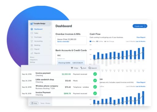 Interface do painel do app de contabilidade Wave