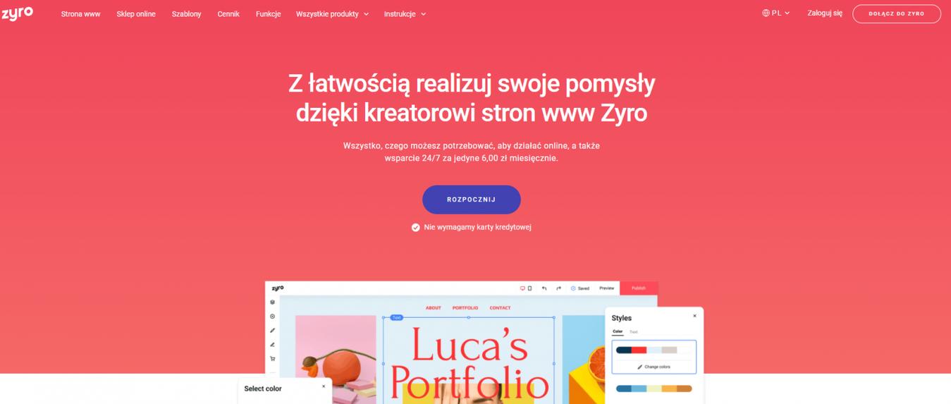 Kreator stron www Zyro - strona docelowa