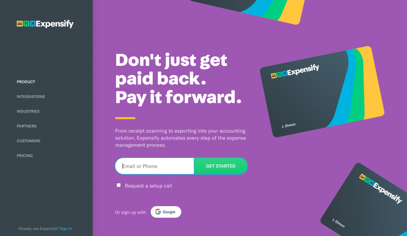 Landing page do site Expensify