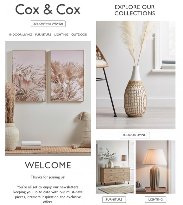 Exemplo de newsletter da Cox & Cox