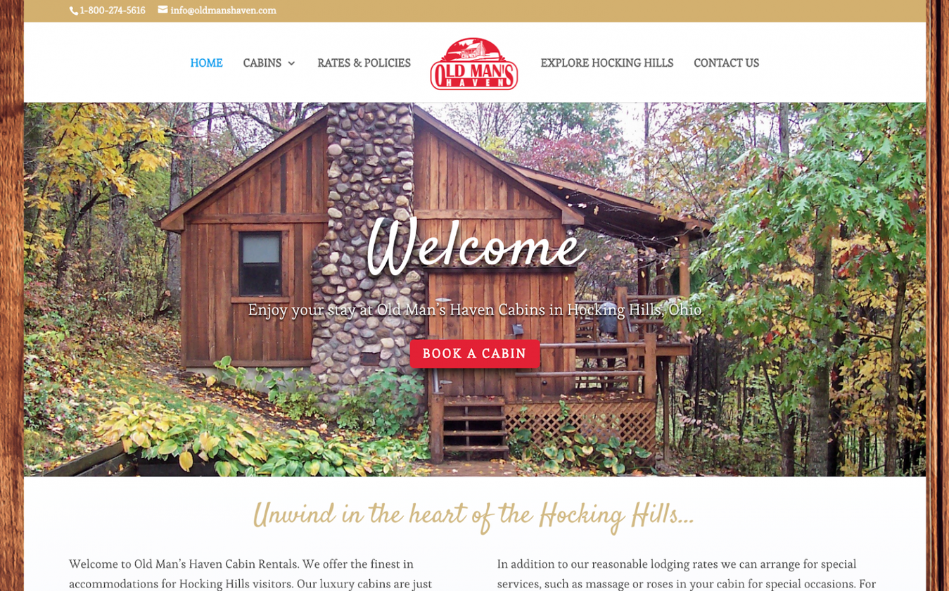 Landing page do site Old Man's Haven