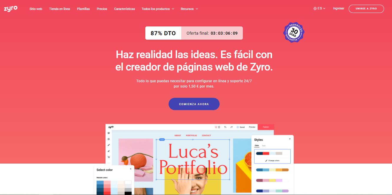 página principal de Zyro