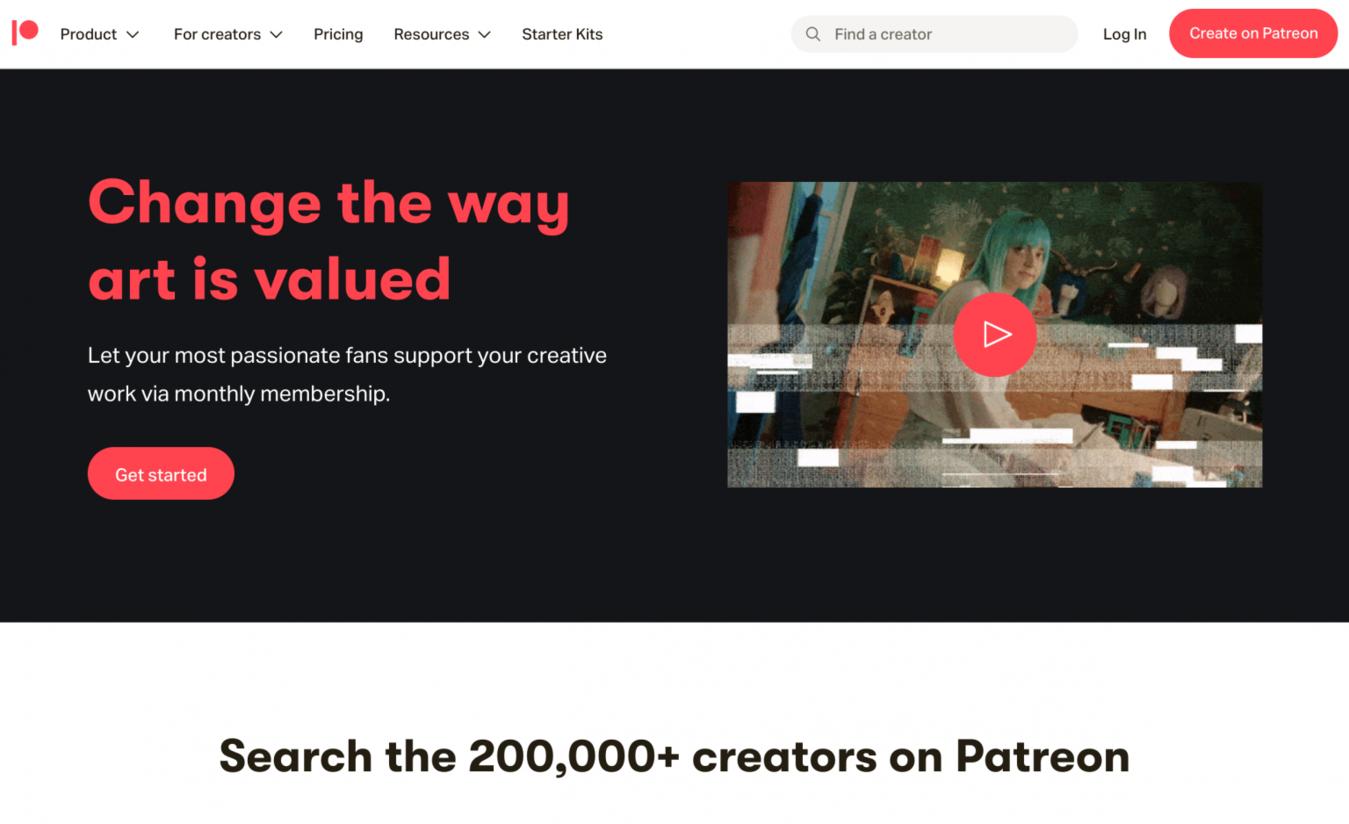 Patreon-Landingpage