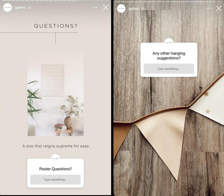 Exemplo de perguntas sendo feitas nos Stories no Instagram