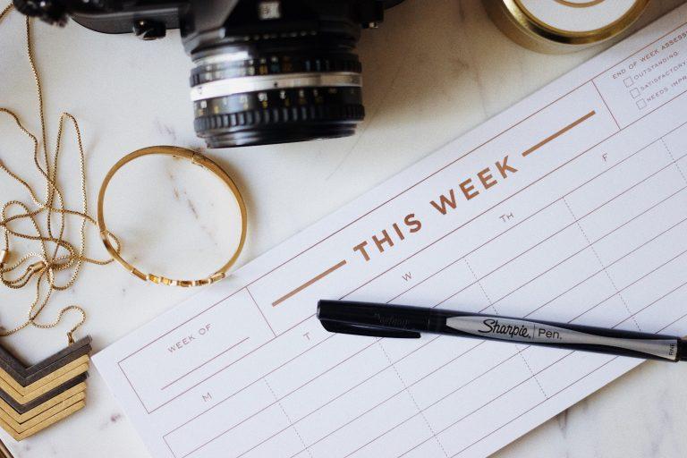 Planner semanal em branco