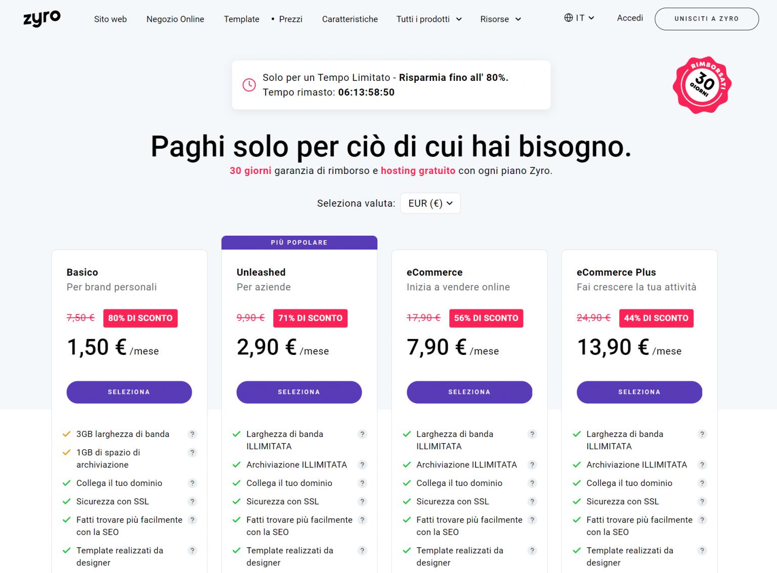 Prezzi piani Zyro