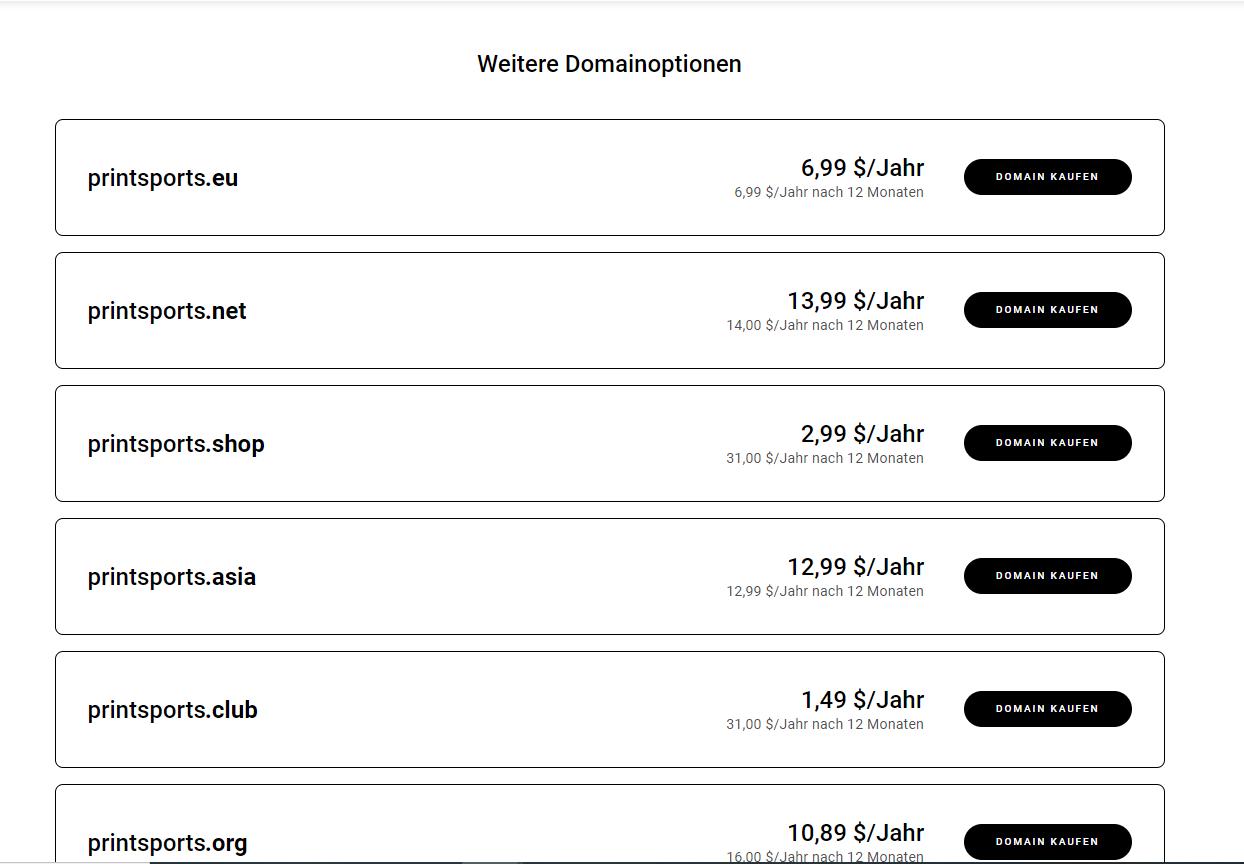 Verfügbare Domains