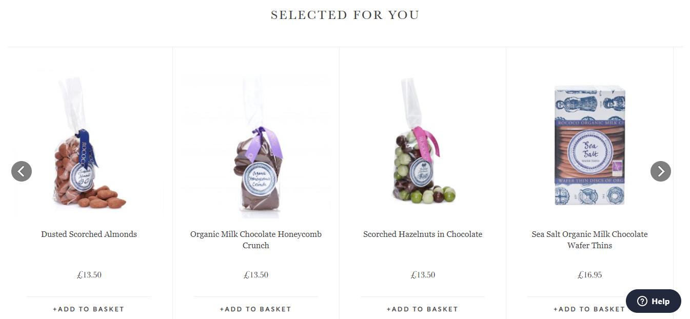 Prodotti in evidenza del sito web Rococo Chocolates