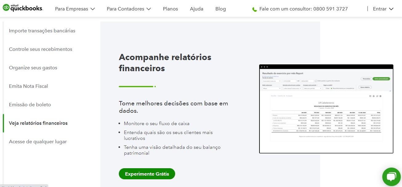 Painel de controle de aplicativo de contabilidade QuickBooks