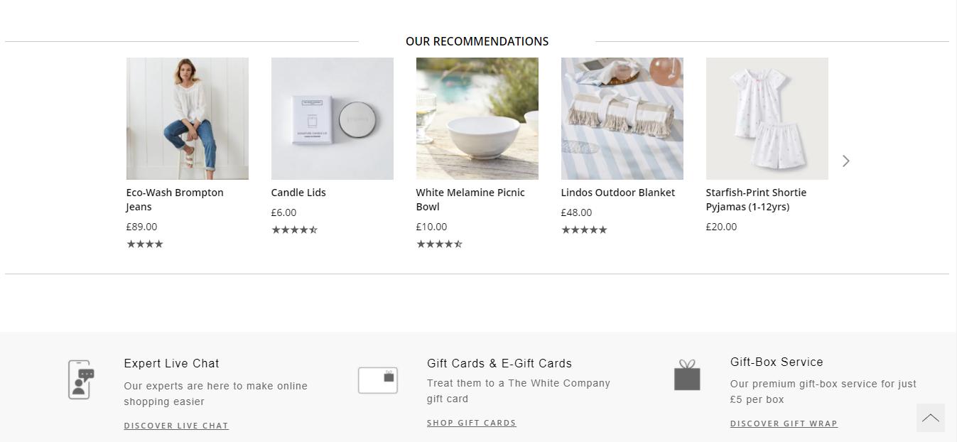 Raccomandazione prodotti The White Company