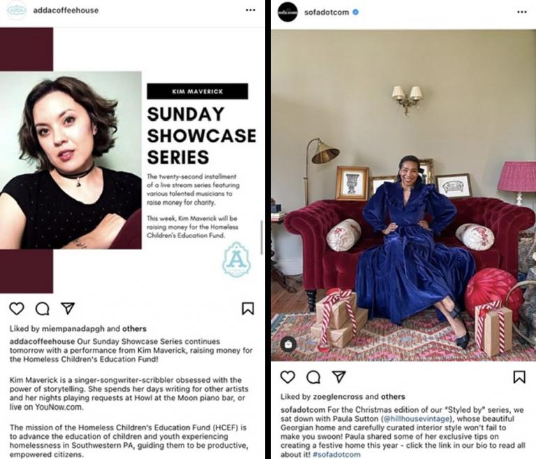 Exemplo de série de post no Instagram