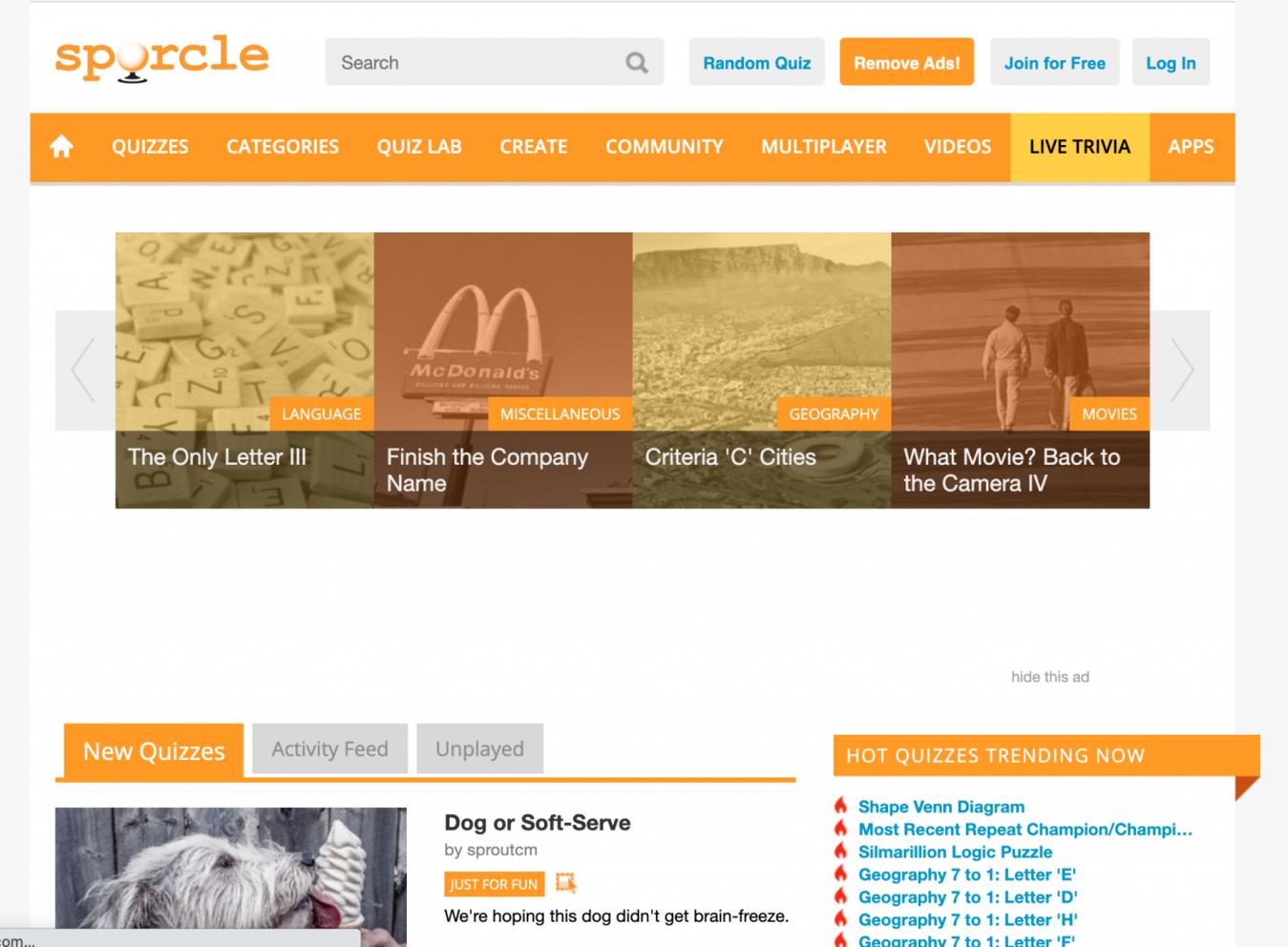 Strona internetowa Sporcle