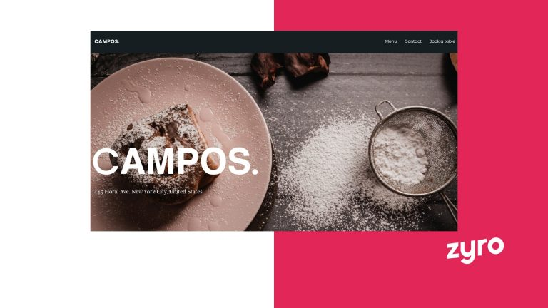 Template esempio sito web Zyro
