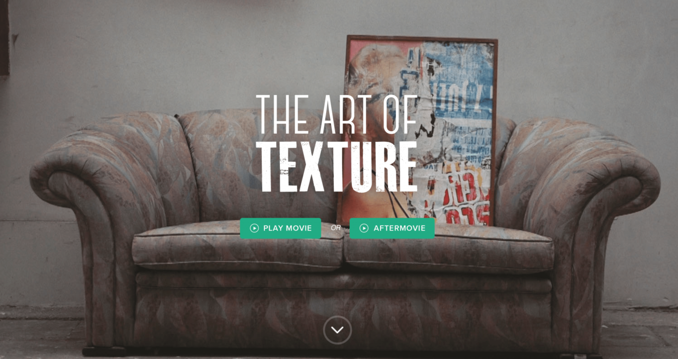 The art of texture landing page