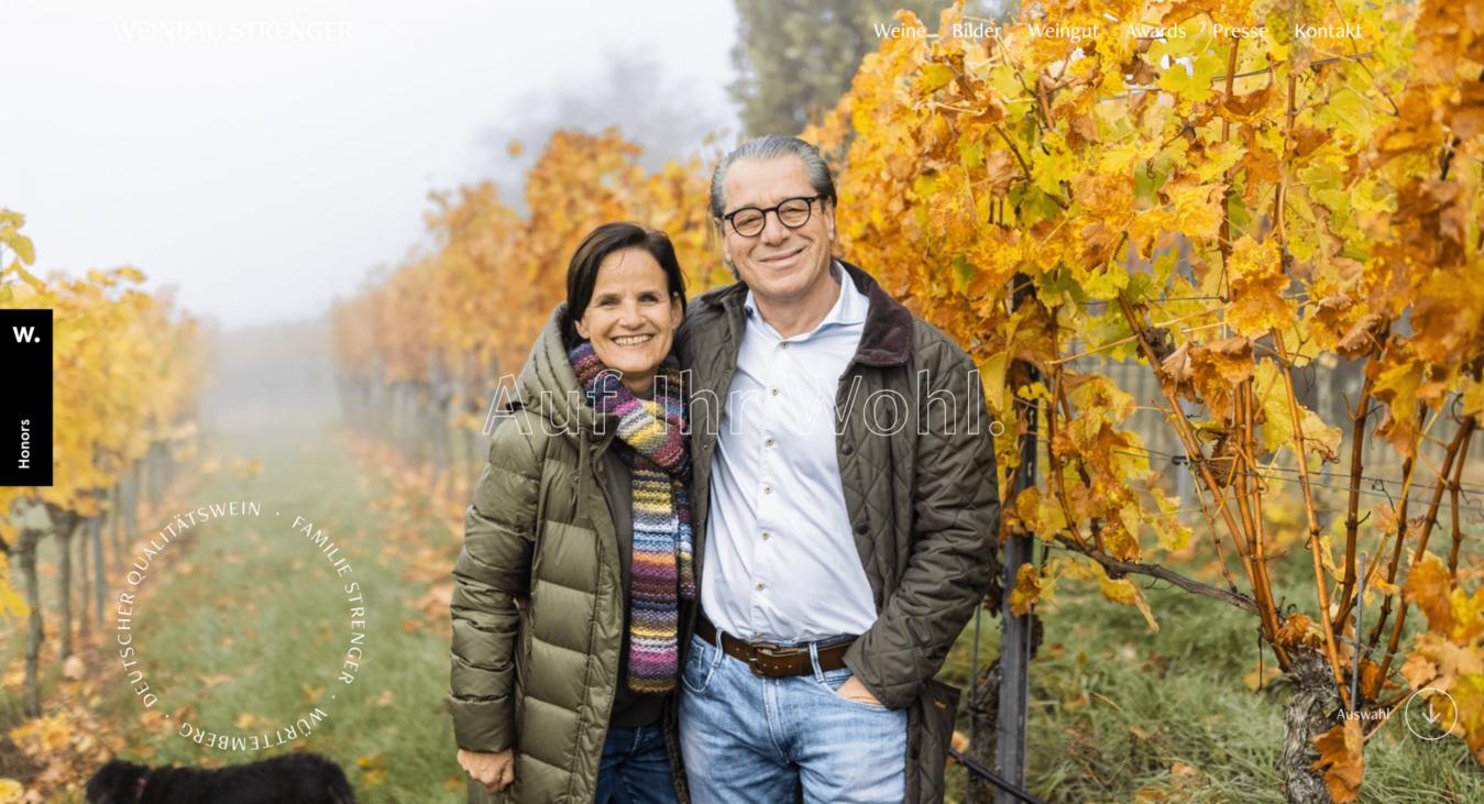 Weinbau Strenger landing page