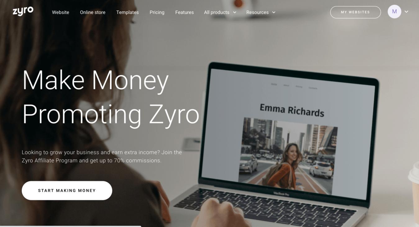 Zyro Affiliate-Marketing-Landingpage