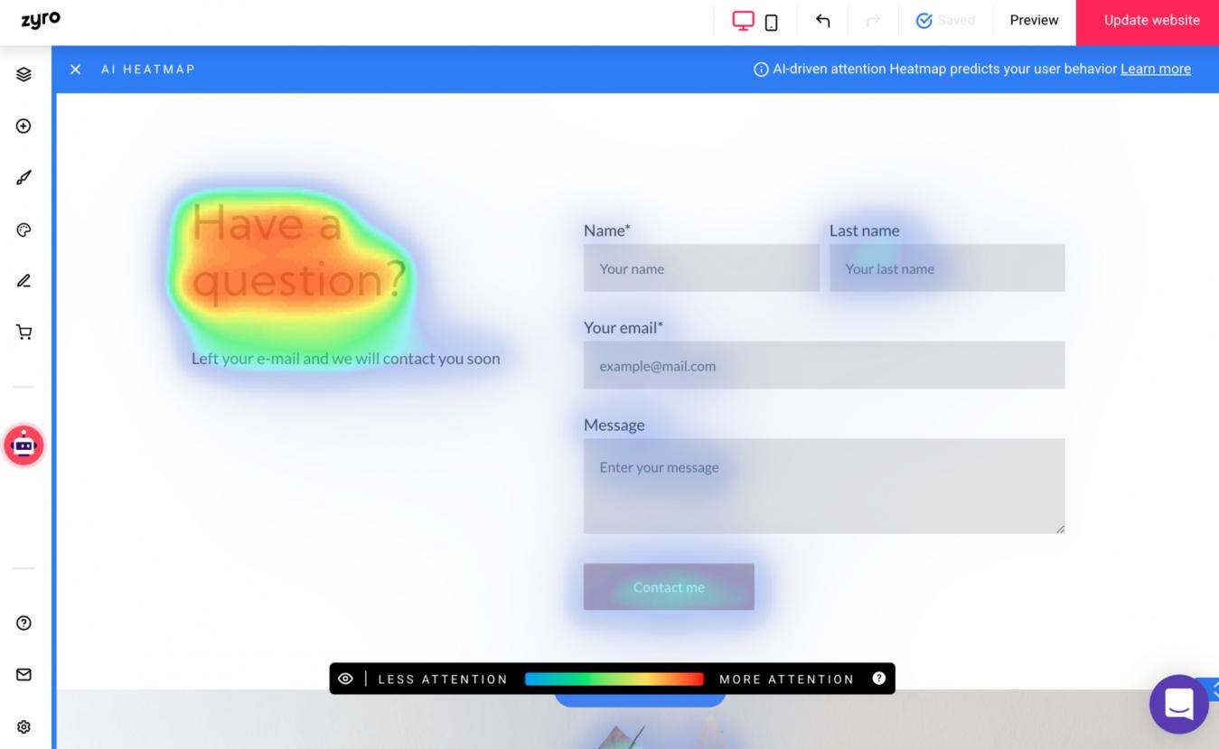 Zyro editor heatmap