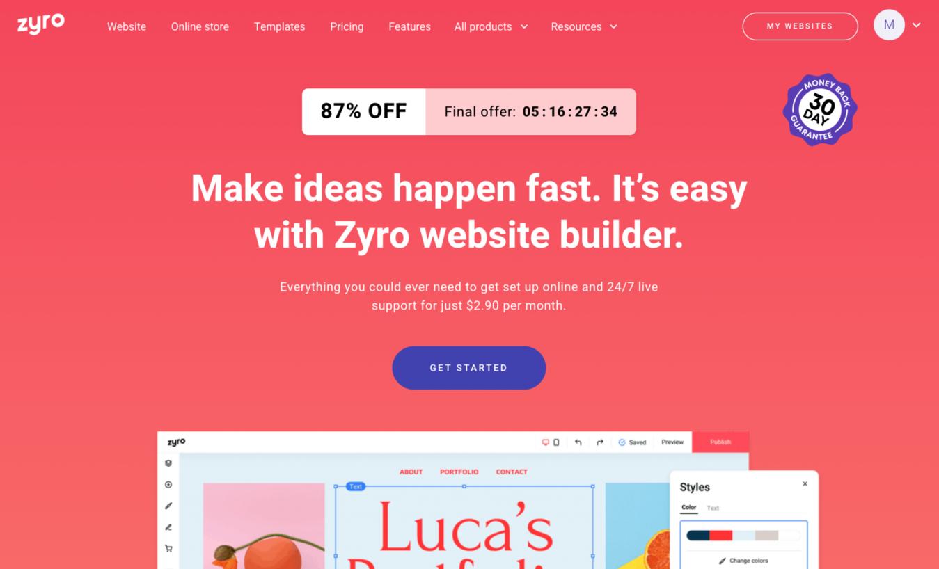 Zyro landing page