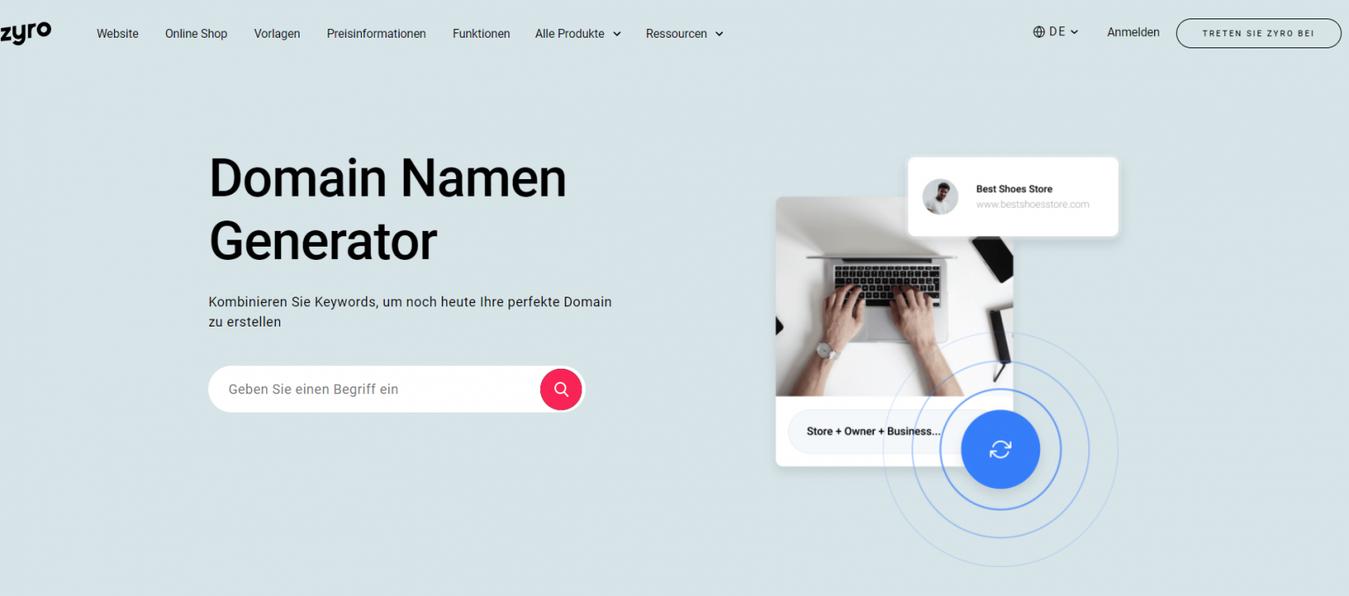 Domain Namen Generator vonZyro -Zielseite