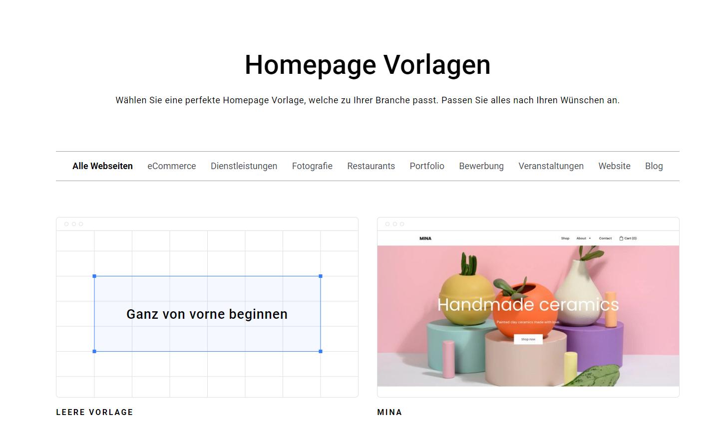 Zyro Homepage-Vorlagen Seite