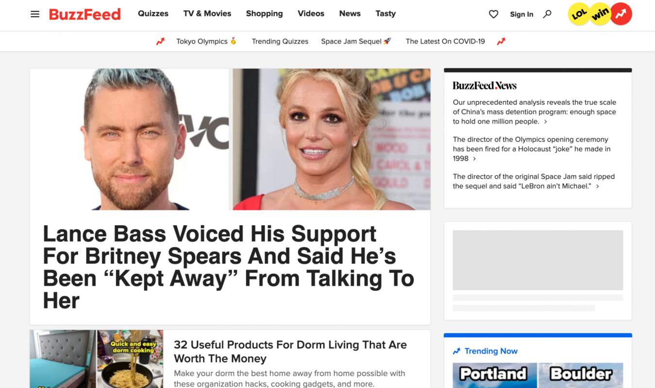 Buzzfeed home page