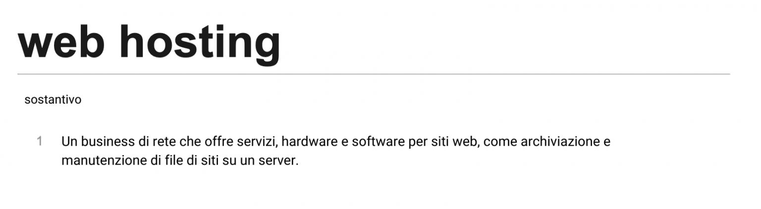 Definizione di web hosting