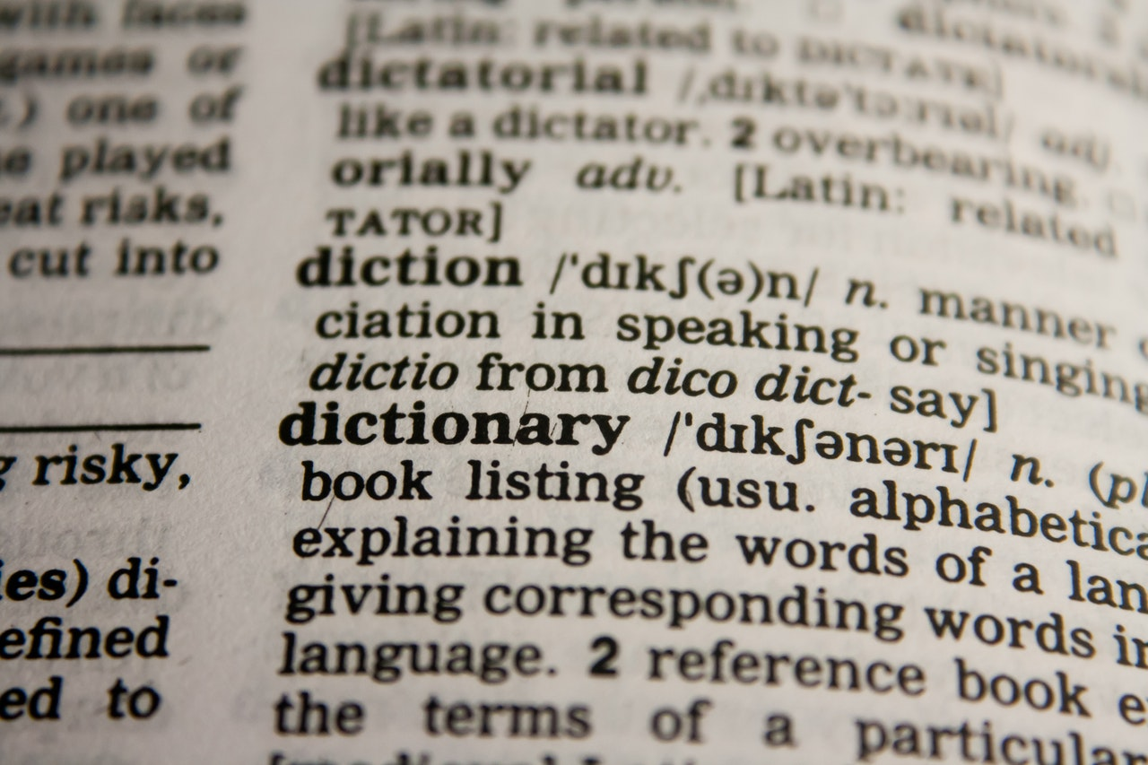 A dictionary open at the dictionary definition