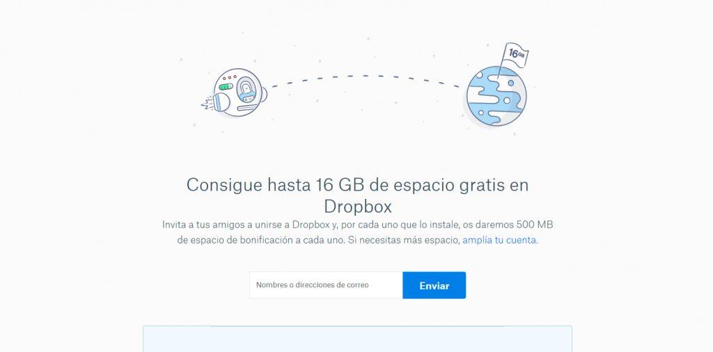 espacio gratis con Dropbox