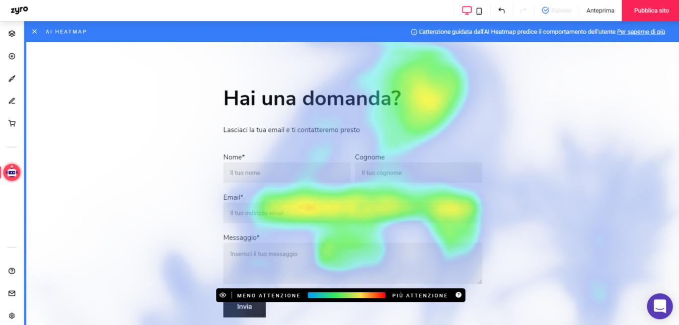 Heatmap dell'editor Zyro