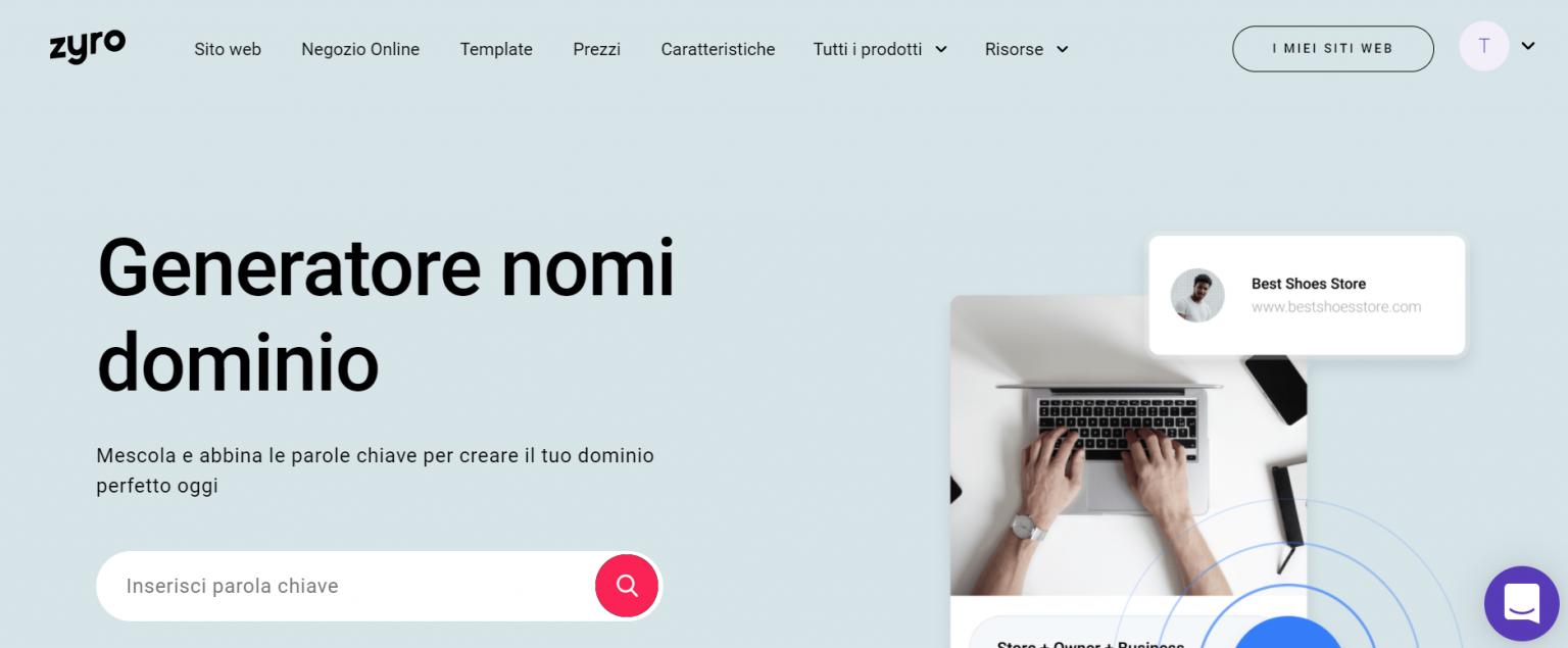 Landing page del generatore nomi dominio di Zyro