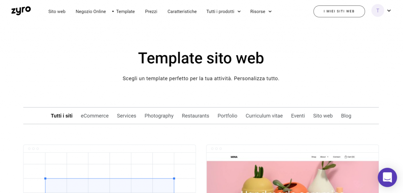 Landing page template Zyro