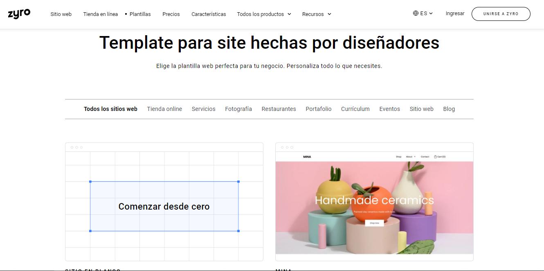Cómo crear una página web con las plantillas de Zyro