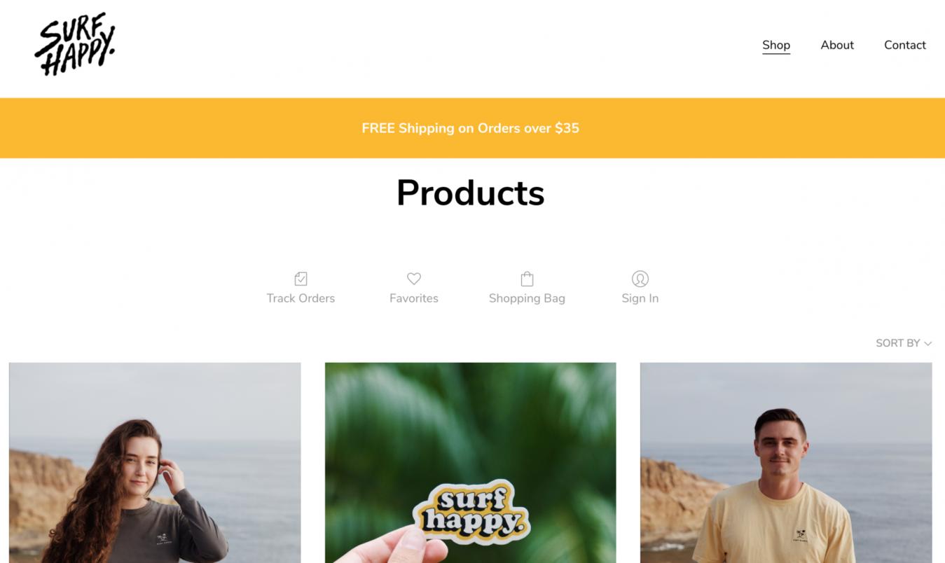 Surf Happy online store