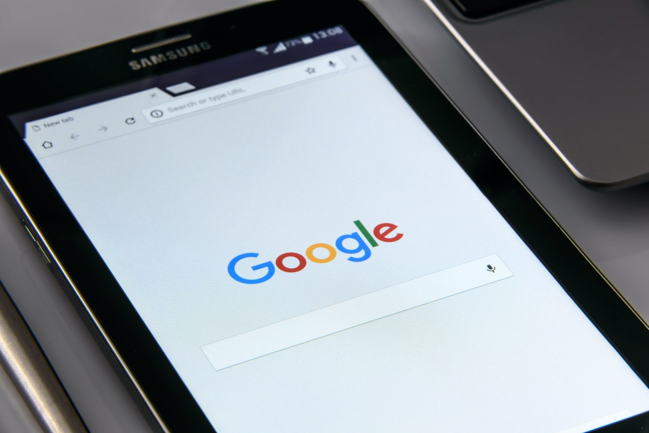 Tablet with Google open