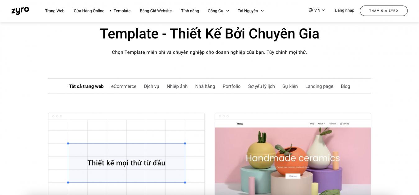 cách tạo trang web bằng template