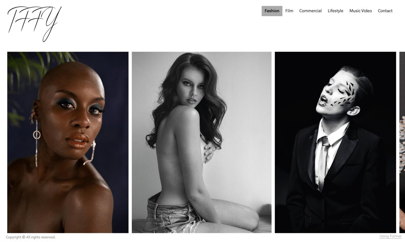 Exemplo de site de fotografia de Tffy DeJesus