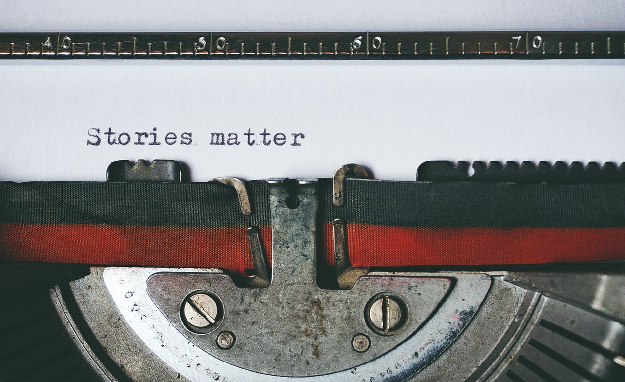 Typewriter spelling out stories matter