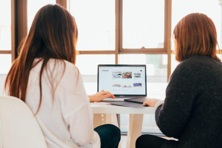 Duas mulheres usando um notebook